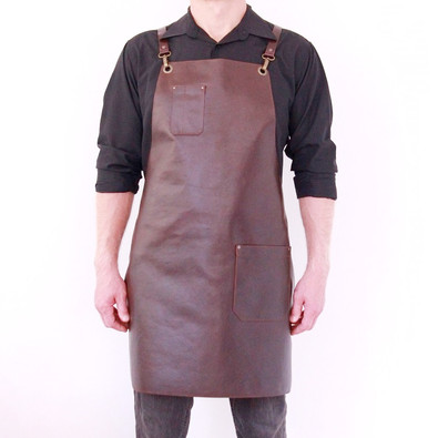 Leather apron BUFFALO for men cognac
