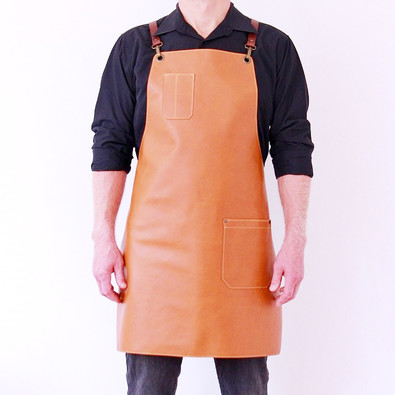 Leather apron BUFFALO for men cedar