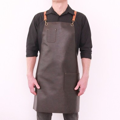 Leather apron BUFFALO for men dark brown