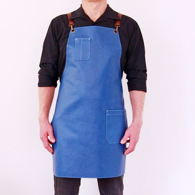 Leather apron BUFFALO for men blue jeans