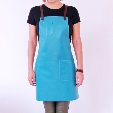 Leather apron BUFFALO for ladies turquoise