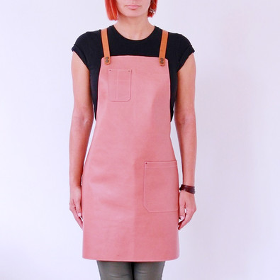 Leather apron BUFFALO for ladies old rose pink