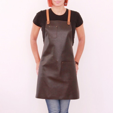 Leather apron BUFFALO for ladies dark brown