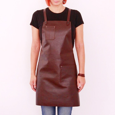 Leather apron BUFFALO for ladies cognac
